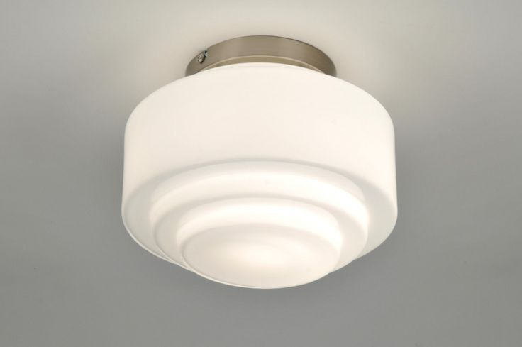 plafondlamp 87621: modern, retro, staal , rvs, glas, wit opaalglas, rond ...