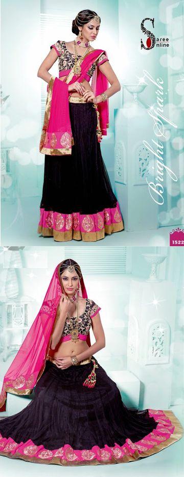 $109.00 Black net designer lehenga with pink net dupatta and patch work  http://www.sareeonline.com/proj/gallery/fullview.aspx?scode=rhl317