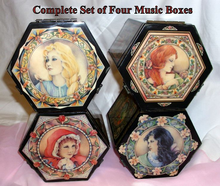 """Complete Vintage Set of Four """"Long Ago and Far Away Series"""" Music Box Dolls by Enesco. Each box plays a different classical tune. Nice! by GraysideCottage on Etsy"""