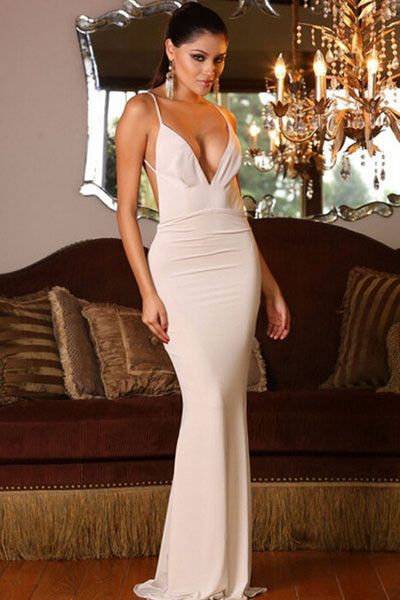 white sleeveless evening gown deep v neck hollow out