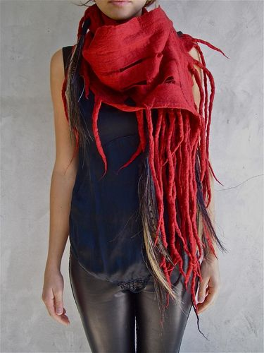 Theo Scarf Red With Tassels. $730, via The Cools
