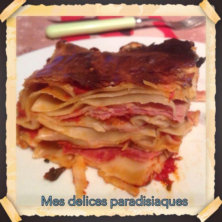 Lasagnes au jambon et sa béchamel au boursault