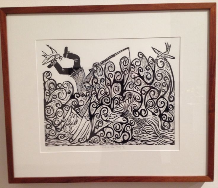 Linocut, 'Catch of the Day II', Annie Hegarty, 2014