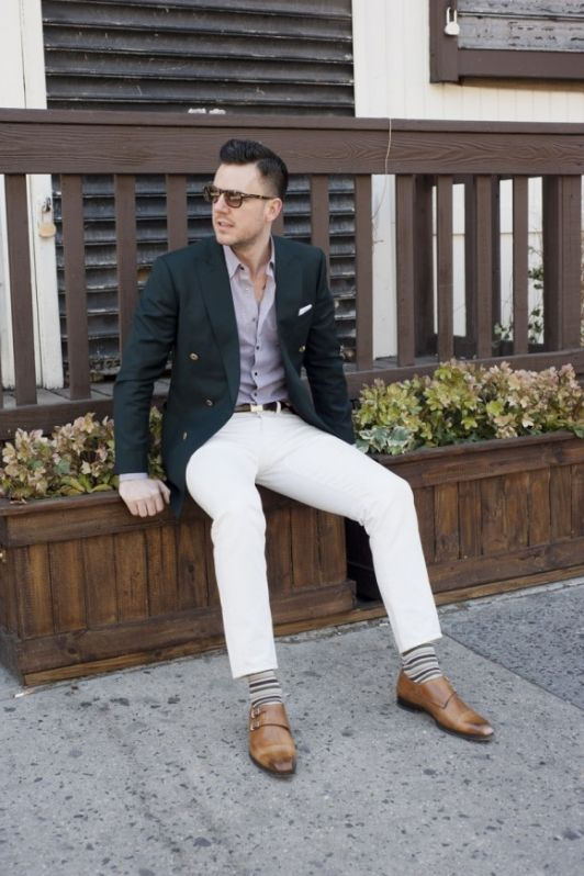 Double Breasted Jacket With White Jeans
