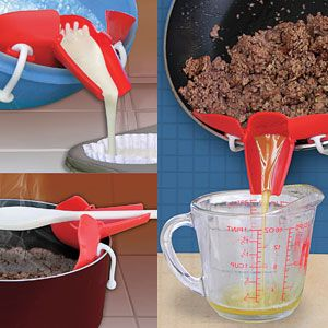 "Clip On Strainer Spout -  No more clumsy funnels & dripping ladles! This silicone spout clips on to the side of a pot or pan to drain grease, or flip the strainer up for a no-mess way to pour batter from a bowl. Doubles as a spoon rest. Stain resistant. Made of microwave and dishwasher safe silicone. (Size: 7-1/2"" L x 3"" H x 3"" W) (Product Number JB5917) $12.98 CAD www.davesgift.shopregal.ca"