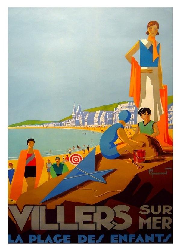 Villers, Belgium vintage beach travel poster ~ affiches de voyage