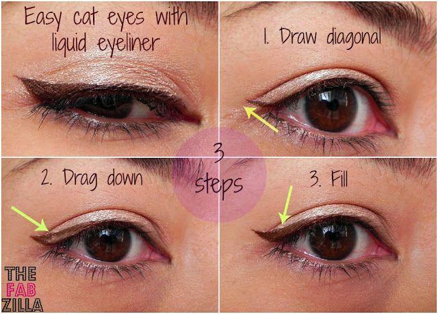 How-to: Easy Cat-Eyes Using Liquid Eyeliner (3 Steps, Promise!)