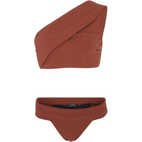 Haight Maria One Shoulder Bikini Set ($195) ❤ liked on Polyvore featuring swimwear, bikinis, brown, one shoulder swimwear, brown bikini, bikini swim wear, one shoulder bikini and fold over bikini