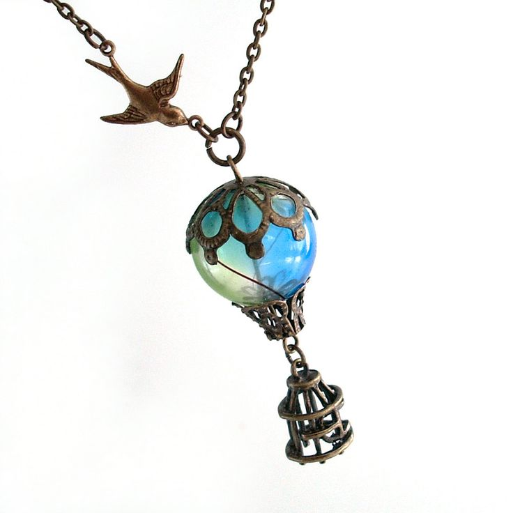 Bird and Balloon - Hot Air Balloon Airship Pendant Necklace Jewelry Jewellery. $45.00, via Etsy.