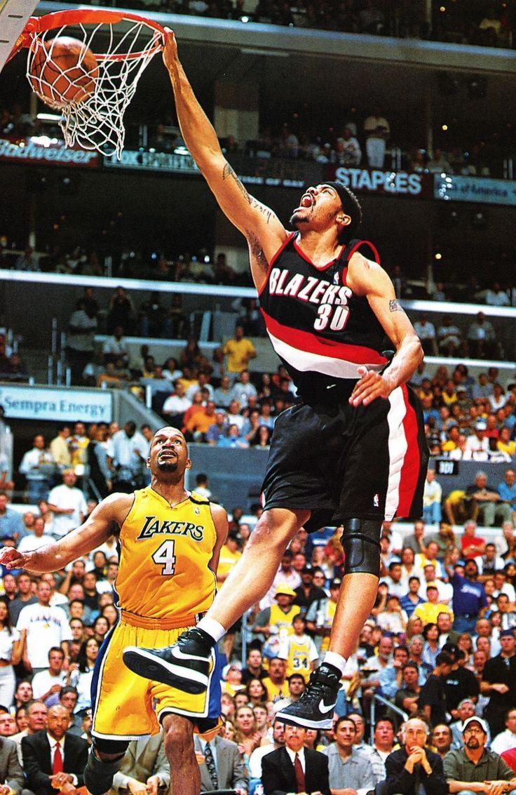 Rasheed Wallace Portland Trail Blazers Dunk Ron Harper Los Angeles Lakers