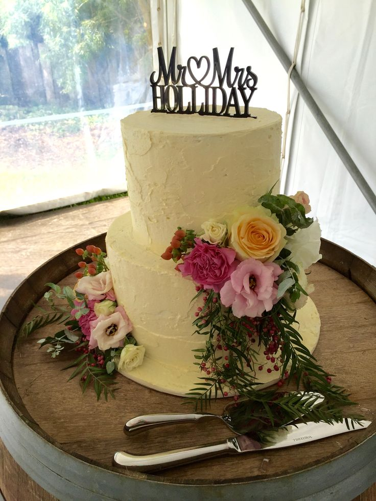Colourful Rustic Cake Flowers by Blooms + Twine Floral Studio // Somersby Gardens Estate // Wine Barrel supplied by The Event Decorators // Marquee from The Party Hire Co