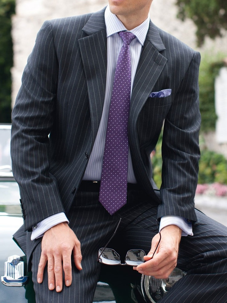 Brook Taverner – Epsom Suit Grey Pinstripe – Men's 2 Piece Suit