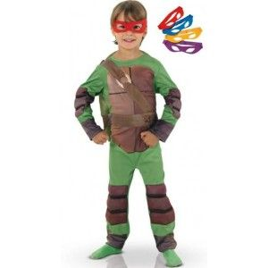 Déguisement tortues ninja enfant TMNT Luxe et 4 Masques Loup: Bleu, Mauve, Rouge, Jaune. Idée pour fêtes déguisées ou anniversaire.