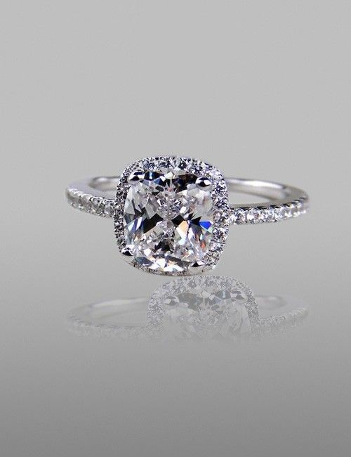 1.9 CT Cushion Cut Cubic Zirconia 925 Sterling Silver Plated Platinum CZ Ring