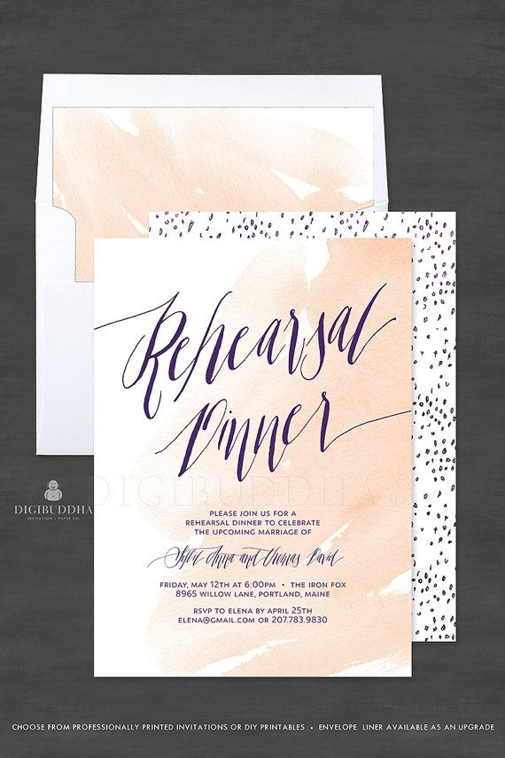 fast shipping wedding invitations%0A Beautiful nude blush peach watercolor Rehearsal Dinner cards with modern  elegant deep purple calligraphy  Tiny