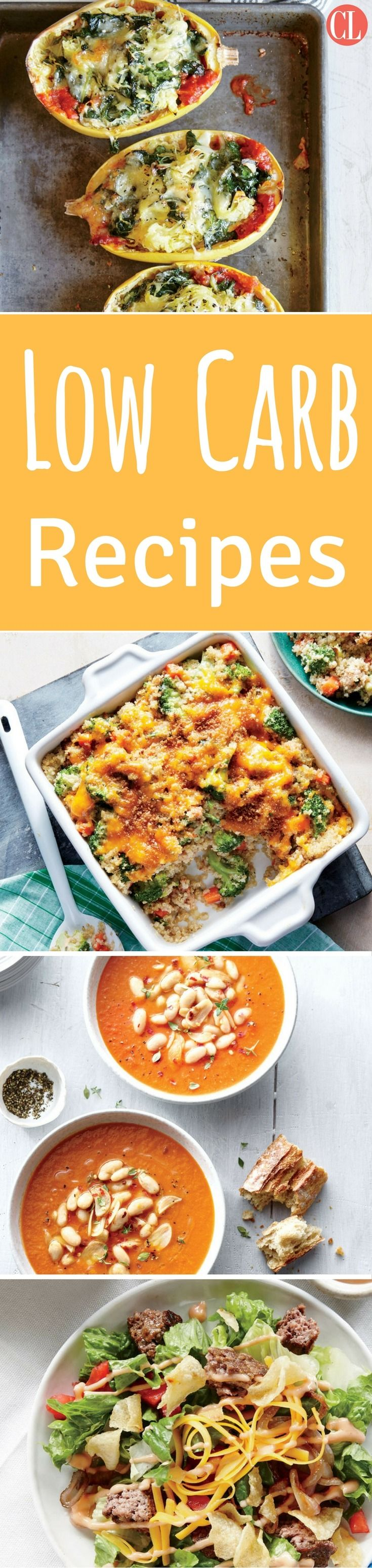 Low-carb recipes don't have to be just meat and vegetables, though if you search for any low-carb dinners on the Internet, that's about all you will find. Click through this delicious recipe slideshow to discover a large assortment of healthy low-carb dinner recipes that will help you cut carbs without the cravings. | Cooking Light