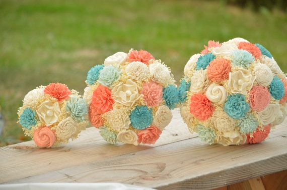 Maybe- I was thinking just coral/pinks for the bouquets and bridal side. Small Wedding Bouquet Ivory Lt. Blue, Aqua, Coral and Peach Sola Flowers and dried Flowers Bridesmaid Keepsake - Etsy