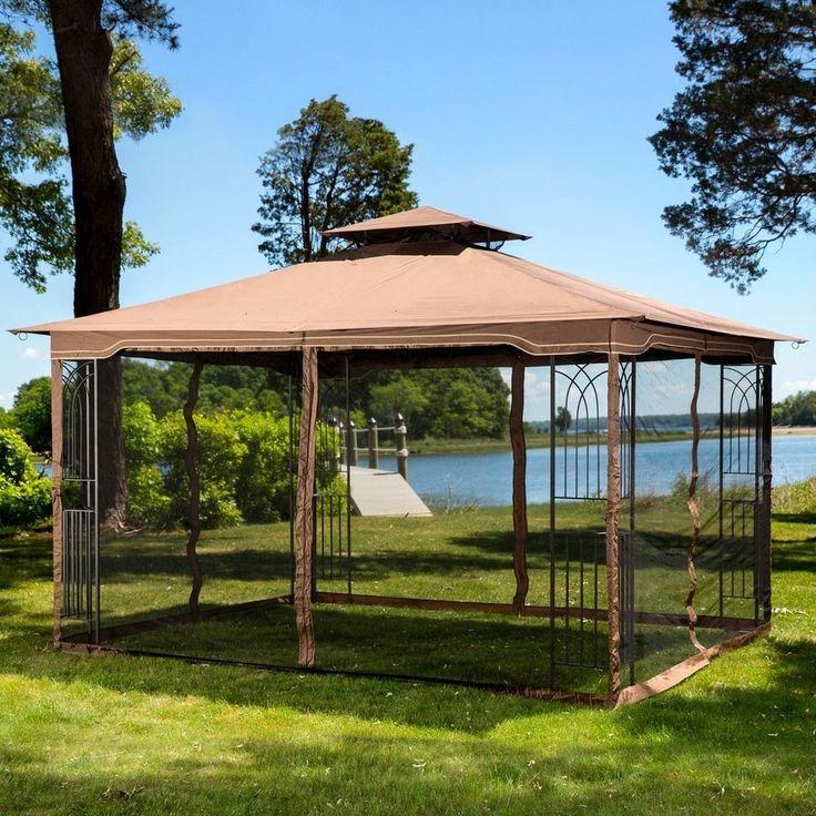 Steel Gazebo Large Pergola Heavy Duty 11 x 13 Patio Metal Frame Canopy Wedding #Unbranded