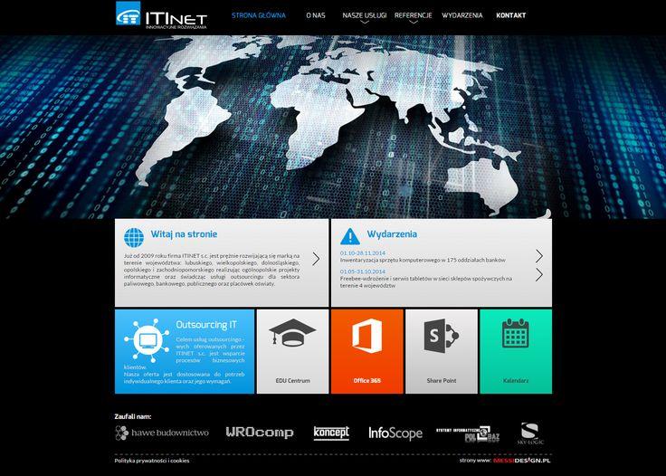 Prosta firmowa strona www - utrzymana w ciemnej stylizacji z nowoczesnymi kaflami zamiast tradycyjnych punktów startowych.