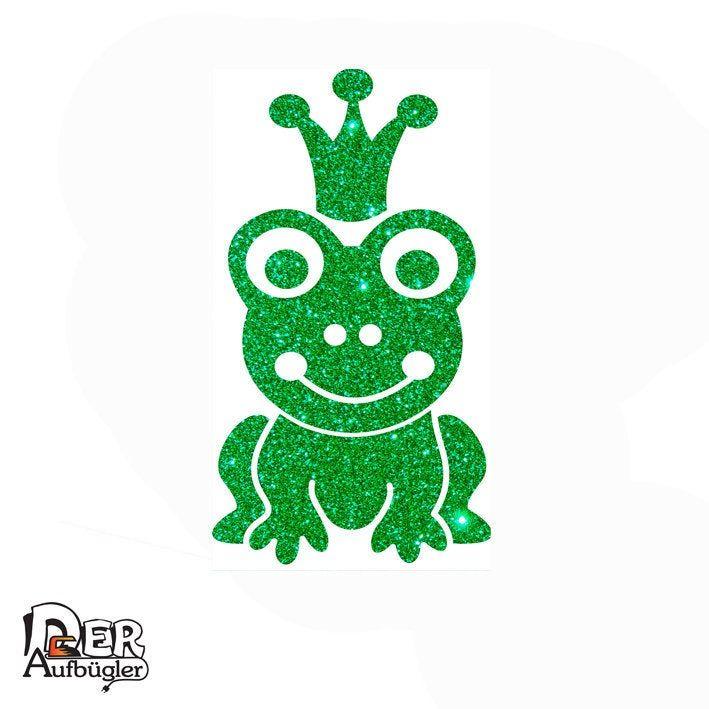 glitzer bügelbild frosch mit krone froschkönig froschprinz