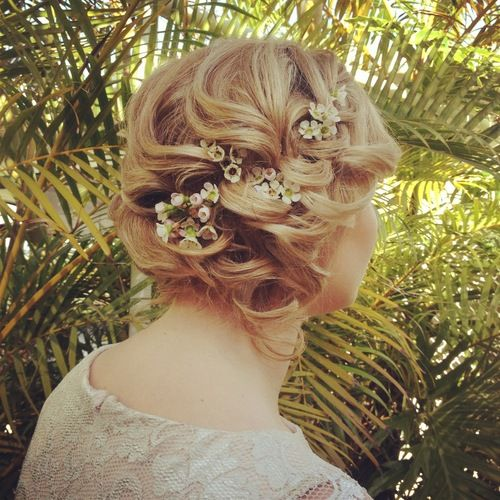Up Style with baby's breath flowers.
