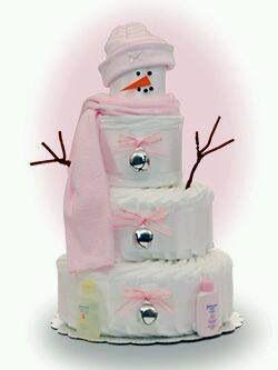 Luiertaart voor een meisje als sneeuwpop!  Creatief @ Babett