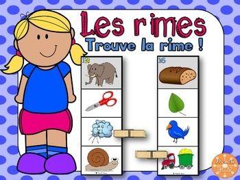 Les rimes - Trouve la rime - French Rhymes. Jeu qui consiste à choisir l'image qui rime avec celle d'en haut. Centres de littératie/ ateliers.