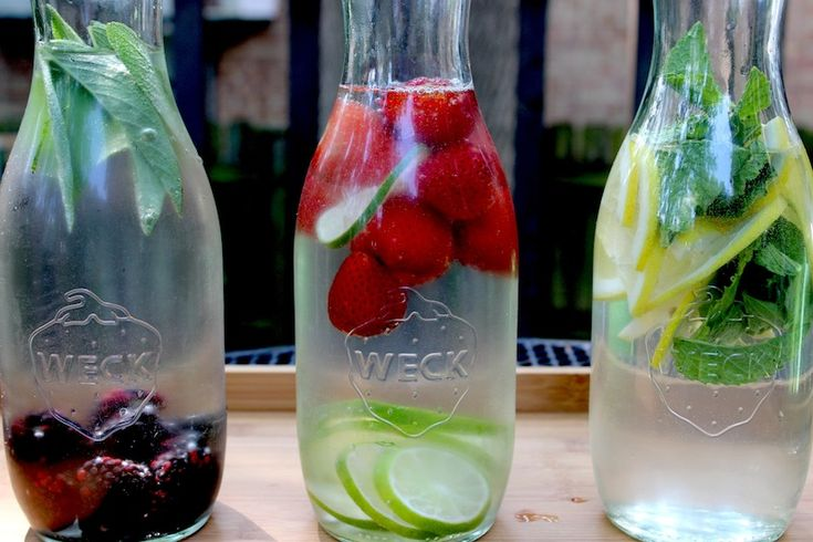 Flavored water ideas and the best glass containers to use.