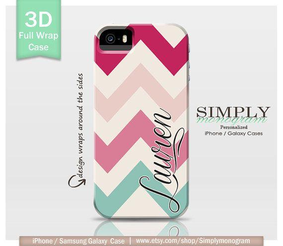Personalized iPhone 4 Case iPhone 4s Case iPhone 5 Case iPhone 5s Case iPhone 5c Case Samsung Galaxy Case - chiq pink mint chevron monogram