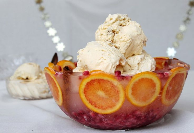 Festive ice bowl with ice cream and ginger tuiles from www.chelseawinter.co.nz