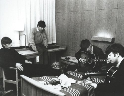 "Scan - The Beatles at their hotel in Sweden, 1963. Scanned from The Illustrated Biography.  ""We took care of each other and we were the only ones who had that experience of being Beatles. No one else knows what that's like. Even today, when the three of us get together, Paul and George are the only two who look at me like I am - not with the view: he's that and a Beatle. Everyone else does that; even our friends do that, there's always that underlying current. In the way that the astronauts…"