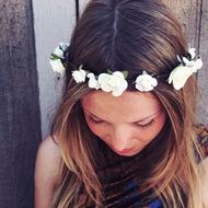 White Mulberry Rose Flower Crown