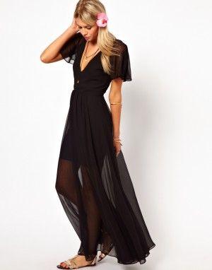 Vestido negro largo de gasa, transparente