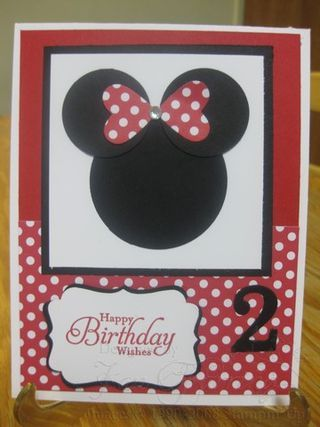 "Minnie Mouse ""2 in May"" birthday card"