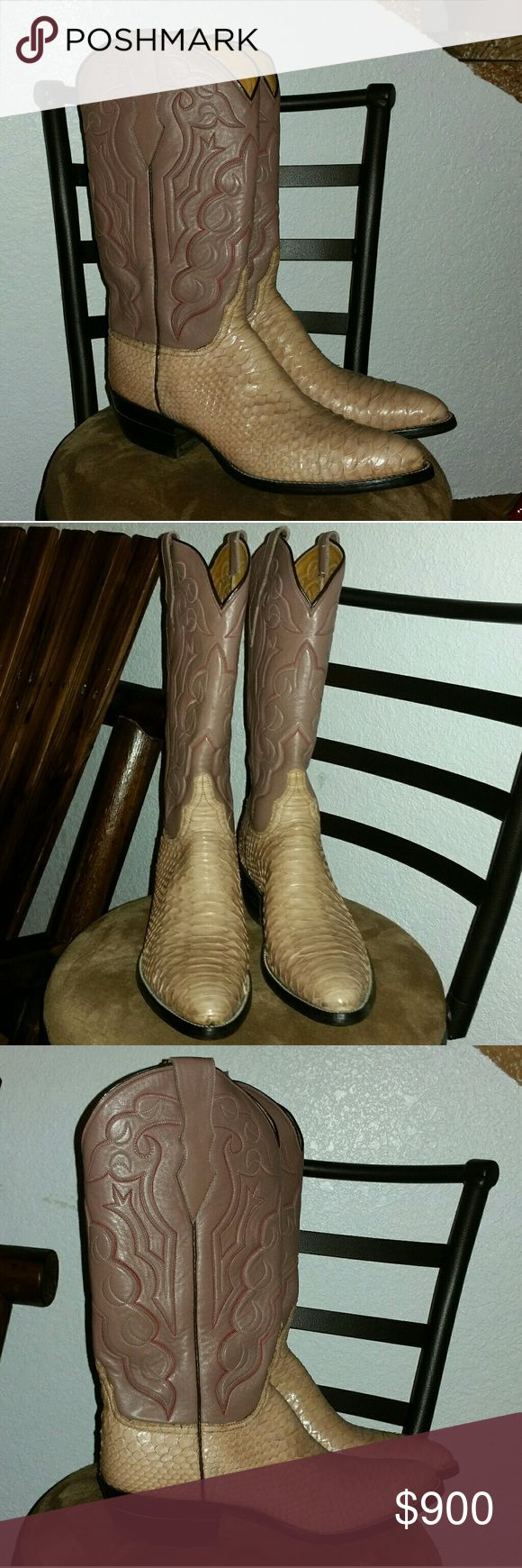 Men's Handmade Snakeskin Cowboy Boots Men's Snakeskin Cowboy Boots, Handmade in Mexico, Real Snakeskin, Real Leather,  Color Brown/Tan  Size Narrow 10  Brand new. Only tried on once, NWOT. VERY SWEET LOOKING BOOTS. PERFECT CONDITIONS. Have any questions before purchase, just ask and I'll try to answer!!! Shoes Cowboy & Western Boots