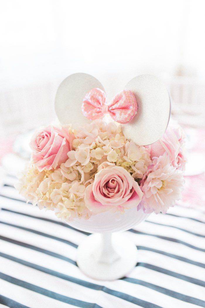 Floral Arrangement topped with Minnie Mouse Ears from an Elegant Minnie Mouse Boutique Birthday Party via Kara's Party Ideas! KarasPartyIdeas.com (51)