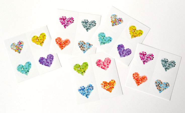 Glossy #stickers with #colorful #hearts - envelope seals stickers by #verapaperlab #etsy - pinned by pin4etsy.com