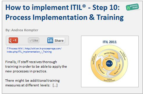 steps and tips on implementing itil Implementing change management is much more than a simple  a list of our  top ten tips to use when implementing an itil change management process 1   the first step to achieving a successful buy-in is identifying all.