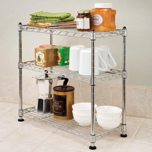 Kitchen Shelves Walmart: Seville Classics 3-Tier Mini Steel Shelving (Zinc