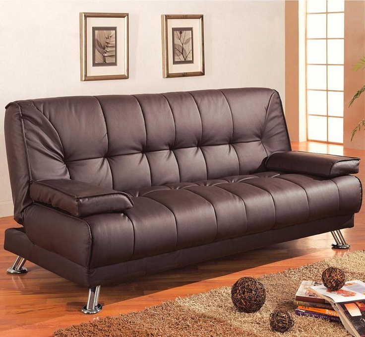 300148 Brown Vinyl Faux Leather Sleeper Couch Futon Sofa