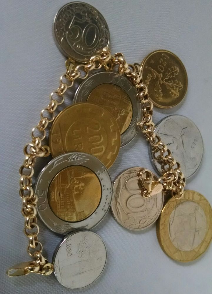 "Milor Italy 14K Yellow Gold Rolo Link Italian Lira Coins Bracelet 7.5"" Coin QVC | Jewelry & Watches, Fine Jewelry, Fine Bracelets | eBay!"