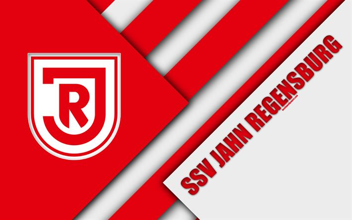 Download wallpapers SSV Jahn Regensburg FC, logo, 4k, German football club, material design, white red abstraction, Dresden, Germany, Bundesliga 2, football