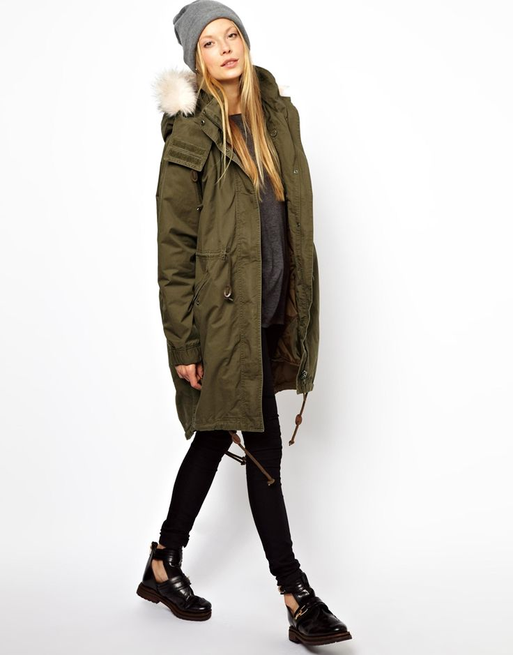olive green parka with fur trim hood