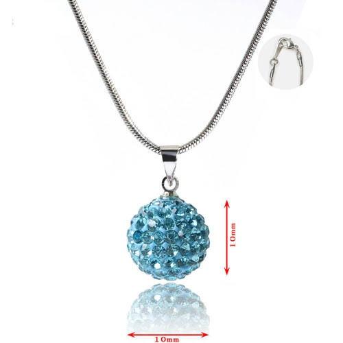 Toller Shamballa Anhänger (Ø 10 mm), der komplett mit Kristallen besetzt ist mit Halskette ca. 45cm lang, versilbert, *nickelfrei*.   Farbe: blau    N