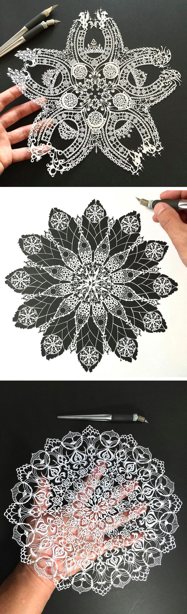 Hand-Cut Mandalas and Other Intricate Paper Works by Mr. Riu