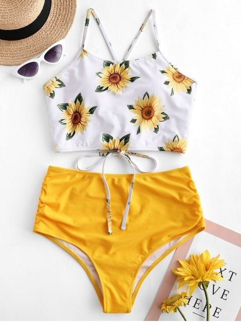 Crisscross Ruched Sunflower Tankini Set BRIGHT YELLOW CAMOUFLAGE GREEN GREENISH BLUE LAPIS BLUE