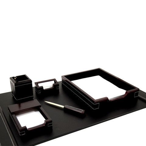 Bey-Berk 6 Piece Wood & Leather Desk Set