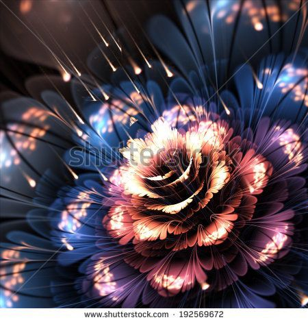 orange-blue fractal flower, digital artwork, illustration - stock photo