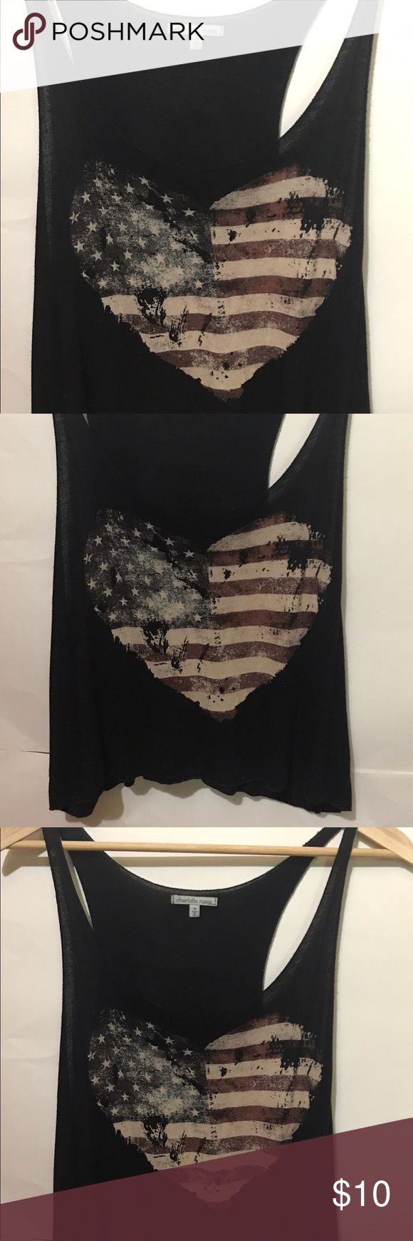 Woman Black Top Cute US Heart Flag Charlotte Russe Amazing Black Top I love this shirt a lot of memories but now dont  fix me any more 😊     💰Accept Offers💰   ✈️Fast ship✈️  ❌No returns❌  😘Thanks for visit my closet😘      ----------------------------------------------------------- Lenght 45 cm Width   40 cm #blouse #tshirt #top #rings #cat #cover #iphone7 #women #babydoll #sexy #glasses #hat #black #red #pink  #summer #vintage #bracelet #watch #gold #choker #earrings #hair #sunglasses…