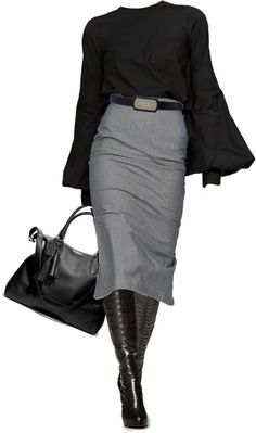 Fashion for Mature Women ... Professional Outfit, Business Attire, Office Outfit ... Long Straight Skirt, Black Boots, Black Sweater ...